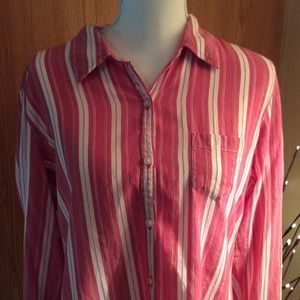 Maurices Tops - Pink and white striped buttoned down shirt size XL