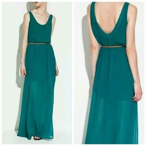Zara Dresses & Skirts - Zara Trafaluc Teal Maxi Dress