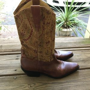 Vintage tapestry leather boots!!!