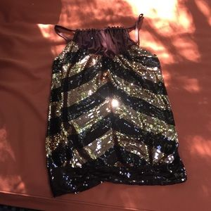 Bebe size m. Brown and gold sequence top