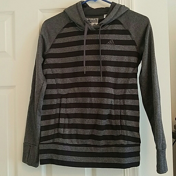 b0841d752218 Adidas Tops - Adidas Ultimate Black and Gray Striped Hoodie