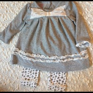 Nanette Baby Other - Nanette Girl Grey and White Lace Sweater Set