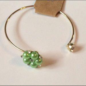 Flower Pearl Rhinestone Cuff Bracelet NWT
