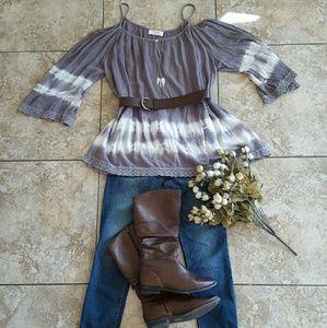 Peach Love California Tops - Cold shoulder tie dye tunic top/dress