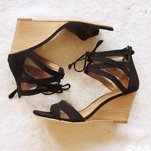 14th & Union Shoes - {14th &Union} Black Lace Up Wedges
