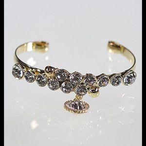 Rhinestone Cuff Bracelet Gold-tone  New
