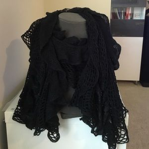 The Accessory Collective Accessories - The Accessory Collective  Black Lace Ruffle Scarf