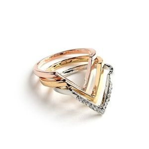 Boutique Jewelry - Set of 3 V-Shape Rose Gold, Gold, Silver Rings
