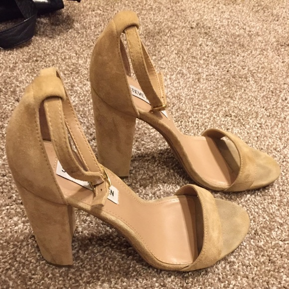 ca617755098 Steve Madden tan suede Carrson Ankle Strap Heel. M 57e5ac5f3c6f9fabaf00164a