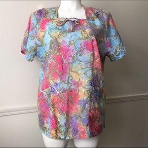 Elan Tops - Cosmic Paisley Rainbow Scrub Top with Pockets