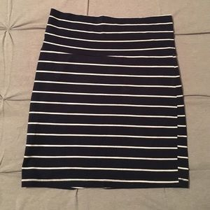 Navy and white striped body con skirt