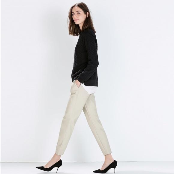 b1dc6365f7c63 Zara Pants | Cream Faux Leather | Poshmark