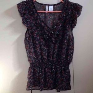 Tilly's Tops - Sheer Ruffled Flowered Shirt