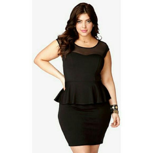 5e6f9cd92ff NWT Forever 21 Plus size Black Peplum Dress