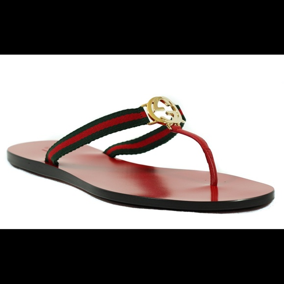 6398f023f GUCCI 388427 Women s GG Thong Nylon Web Sandal