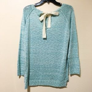 Sweaters - Aqua Blue Marled Bow Back Slouchy Sweater