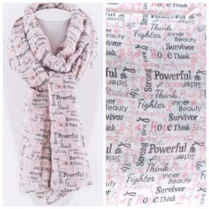 Accessories - White & Pink Breast Cancer Survivor Scarf B10