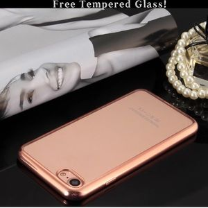 Accessories - Rose gold shockproof iphone 7/7plus clear TPU case