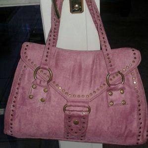 Lulu Handbags - Pink Faux Suede Bag