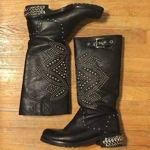 "Donald J. Pliner Shoes - Donald J. Pliner Leather ""Mac"" Black Boots"