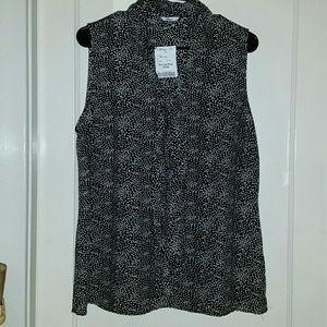 Milano black & white sleeveless flowy top - Sz. L
