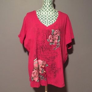 Torrid Pink Tee with Light Pink Roses