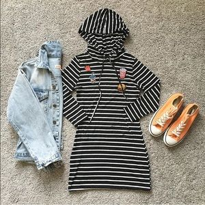 Dresses & Skirts - Striped patch hooded dress