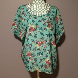 Eyeshadow Mint Green Mixed Fabric Floral Blouse