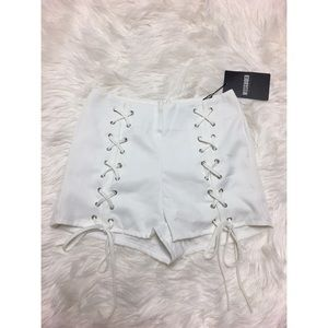 Missguided Lace-Up White Shorts