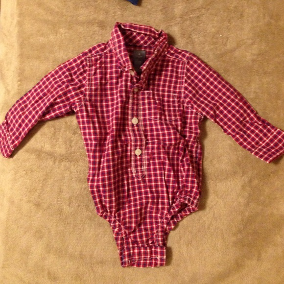 50152c480 baby gap Shirts & Tops | Plaid Redwhitenavy Button Up Onesie | Poshmark