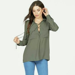 JustFab Tops - 🎉HP 11/27🍂🍁NWT Front Lace up Blouse