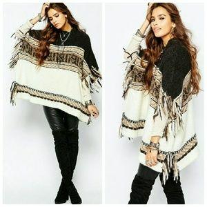 Sweaters - Fringe Poncho