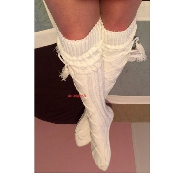 a1c6df3efa5 Cable Knit Over The Knee Socks Thigh High Tassel