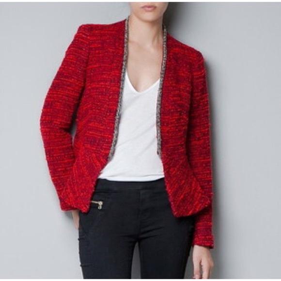 67% off Zara Jackets & Blazers - Zara red Boucle tweed jacket ...