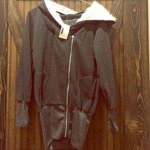 Jackets & Blazers - Zip hoody with fur hood