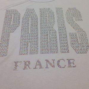 Attitude Paris Private Design France Tops - ATTITUDE PARIS T shirt with Bling Letters