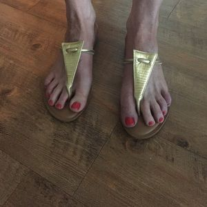 Shoes - Rowen brushed gold flip flops