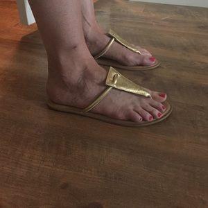 Shoes - Rowen brushed gold flip flops