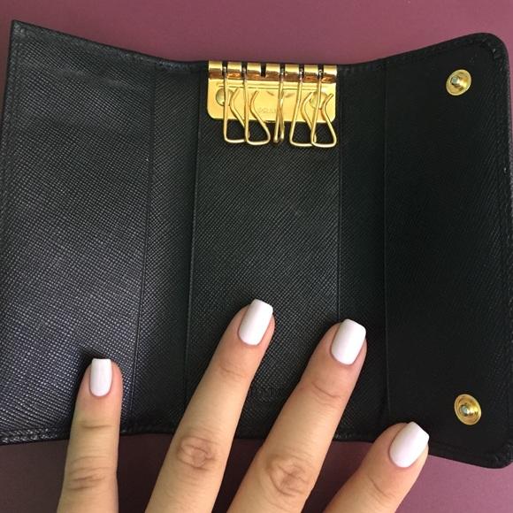 ecb956d7776a ... france prada accessories prada key holder black saffiano w gold  hardware f020c 86fd2