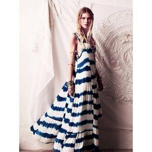 RARE FP Bonitas Sunshine Tie-Dye Beaded Maxi Dress