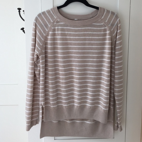 54% off lululemon athletica Sweaters - Lululemon Tan/white striped ...