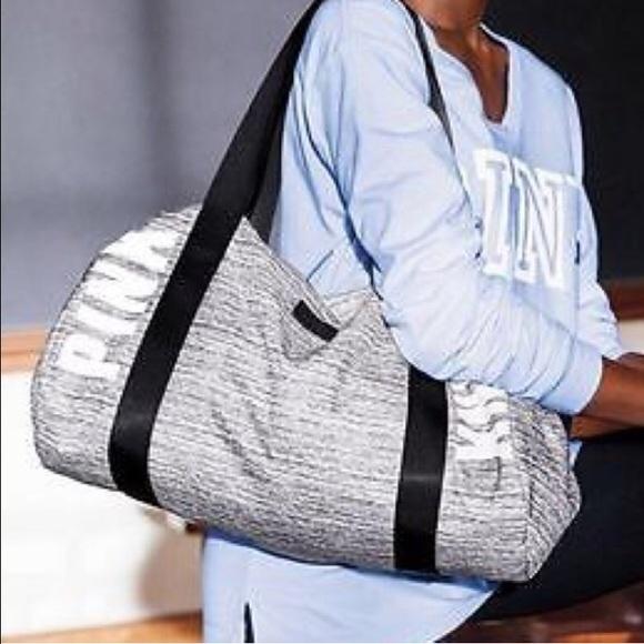 9ee0dfa6ae VS PINK Gray Marl Gym Duffle Bag