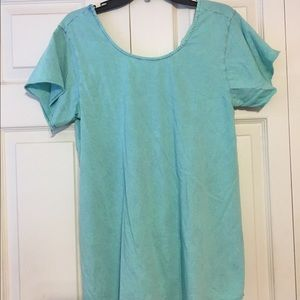 Altar'd state teal blouse with tie in back