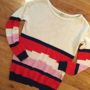 Madewell sweater, linen geometric size S