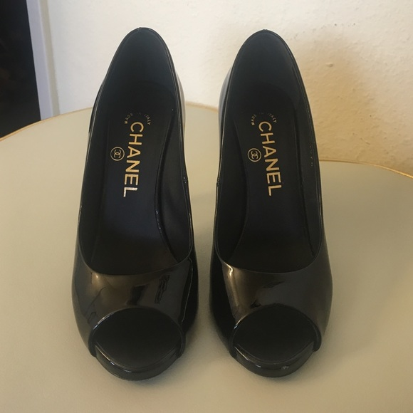 db2e1996b42 CHANEL Shoes - Peep toe black Chanel pump shoes with pearls