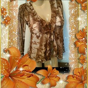 Rave Tops - 8 $ SALE!  Semi Sheer Brown Floral Cover up Top