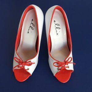 """Ellie Shoes - Sexy 4.75"""" Heel White/Red Trim Heels"""