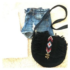 Boho black purse with fringe