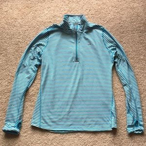 Nike blue and white striped 1/4 zip up sz lg