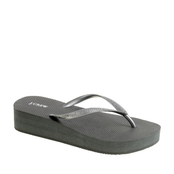 bfadf064c J Crew Skinny Wedge Flip Flops in black